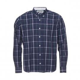 Chemise manches longues TBS à carreaux bleus, blancs et verts