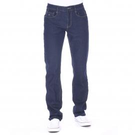 Jean TBS en coton stretch bleu foncé à ceinture semi-élastiquée