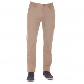 Pantalon TBS en coton stretch beige à ceinture semi-élastiquée