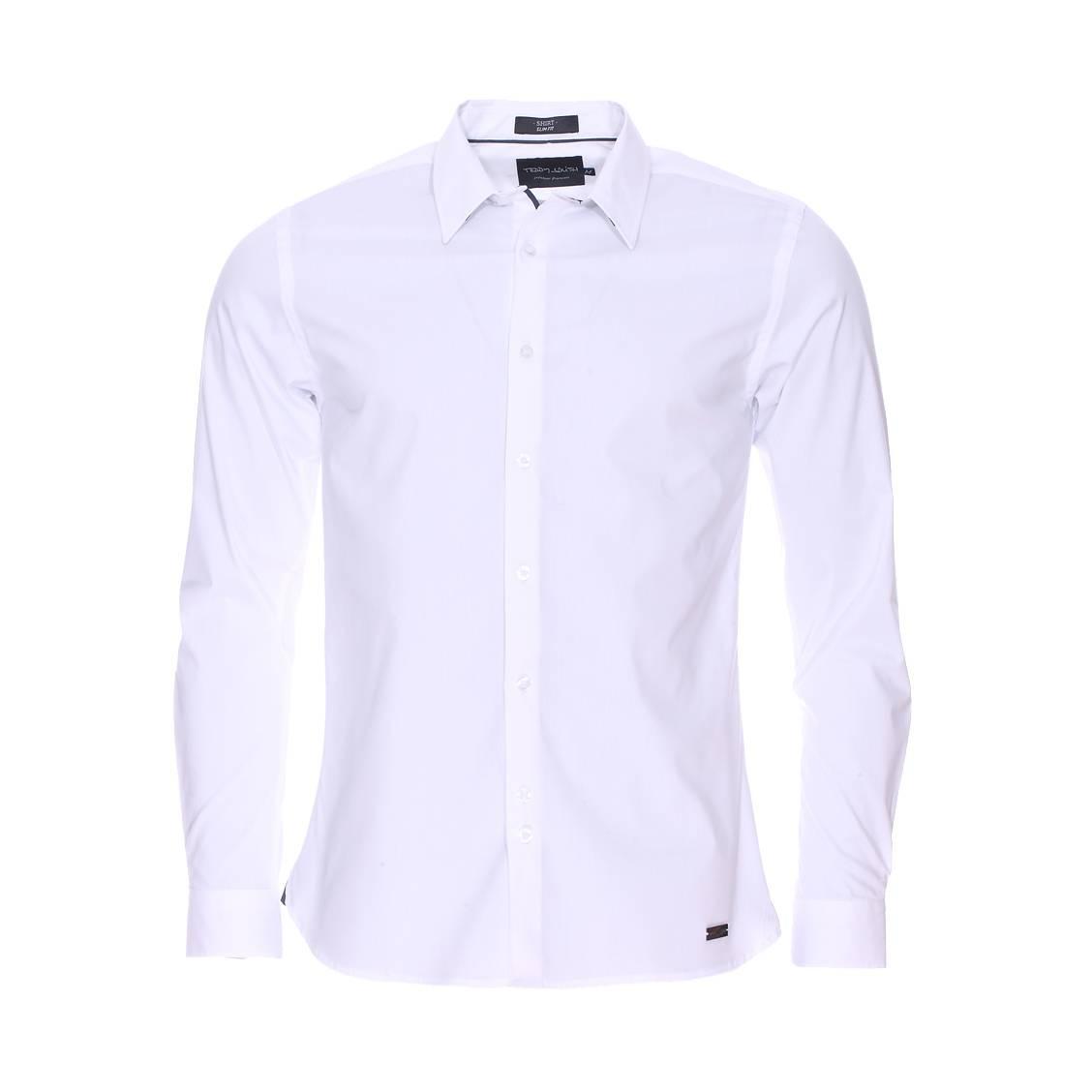 Chemise cintrée Clovis Teddy Smith en coton stretch blanc   Rue Des ... f6c332d49500