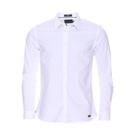 Chemise cintrée Clovis Teddy Smith en coton stretch blanc