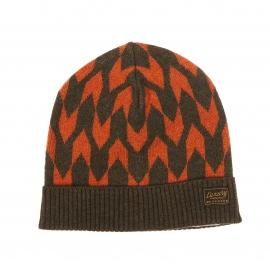 Bonnet Scotch & Soda en laine kaki à motifs orange