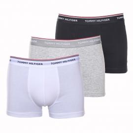 Lot de 3 boxers Tommy Hilfiger en coton stretch : 1 modèle gris clair, 1 modèle blanc et 1 modèle noir