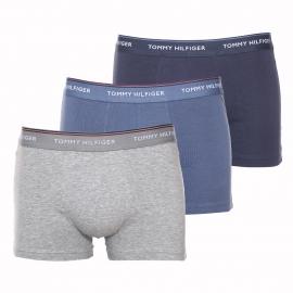 Lot de 3 boxers Tommy Hilfiger en coton stretch : 1 modèle gris clair, 1 modèle bleu gris et 1 modèle bleu marine