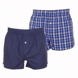 Lot de 2 caleçons Tommy Hilfiger en coton : 1 modèle bleu marine et 1 modèle à carreaux bleus et blancs