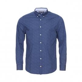 Chemise droite Tommy Hilfiger bleue à motifs fleurs pointillées