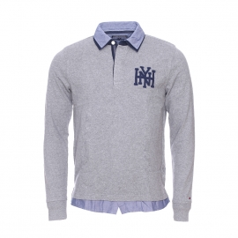 Polo manches longues Terence Rugby Tommy Hilfiger en coton gris à double col chemise