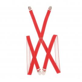 Bretelles slim rouges à très fines rayures noires