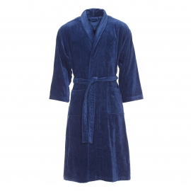 Peignoir de bain bi-matière Vossen en coton bleu marine