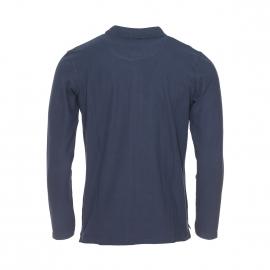 Polo manches longues Best Mountain bleu marine estampillé en gris
