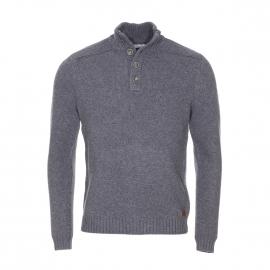 Pull col boutonné Alpha Harris Wilson grosse maille en laine gris clair