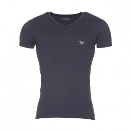 Tee-shirt col V Emporio Armani en coton stretch noir à détails vert fluo
