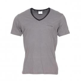 Tee-shirt à manches courtes Calvin Klein en coton gris à col V noir