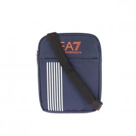 Sacoche plate à bandoulière EA7 bleu marine estampillée