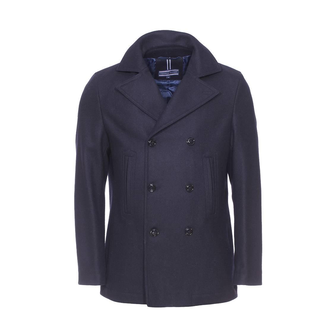 manteau tommy hilfiger en laine bleu marine rue des hommes