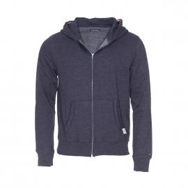 Sweat zippé à capuche Tommy Hilfiger en coton bleu chiné