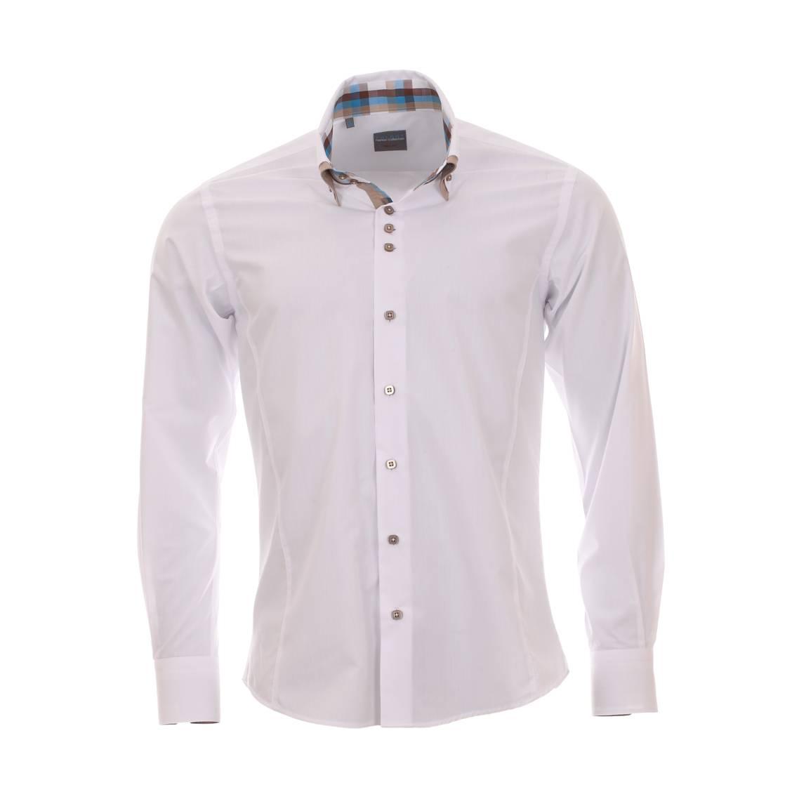 Chemise homme  blanche cintrée à double col et opposition à carreaux