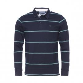 Polo manches longues TBS en coton bleu marine à rayures vertes