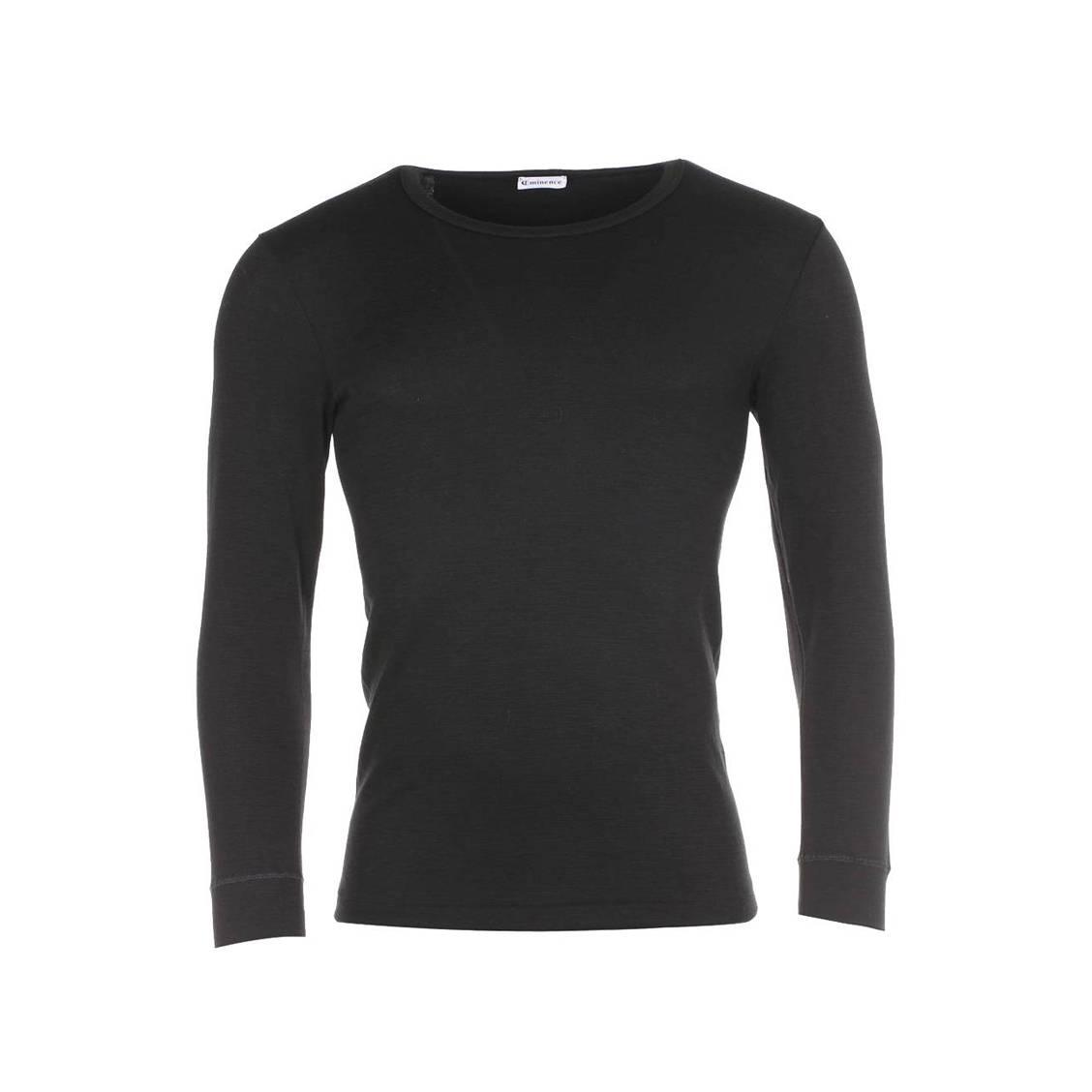 Tee shirt Chaleur Naturelle Intense Eminence noir col rond et manches longues. Tee shirt homme chaud EminenceLaine (50%), Coton (40%), Polyamide (10%)