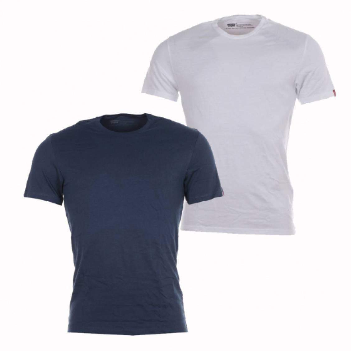lot de 2 tee shirts col rond levi 39 s en coton blanc et bleu marine rue des hommes. Black Bedroom Furniture Sets. Home Design Ideas