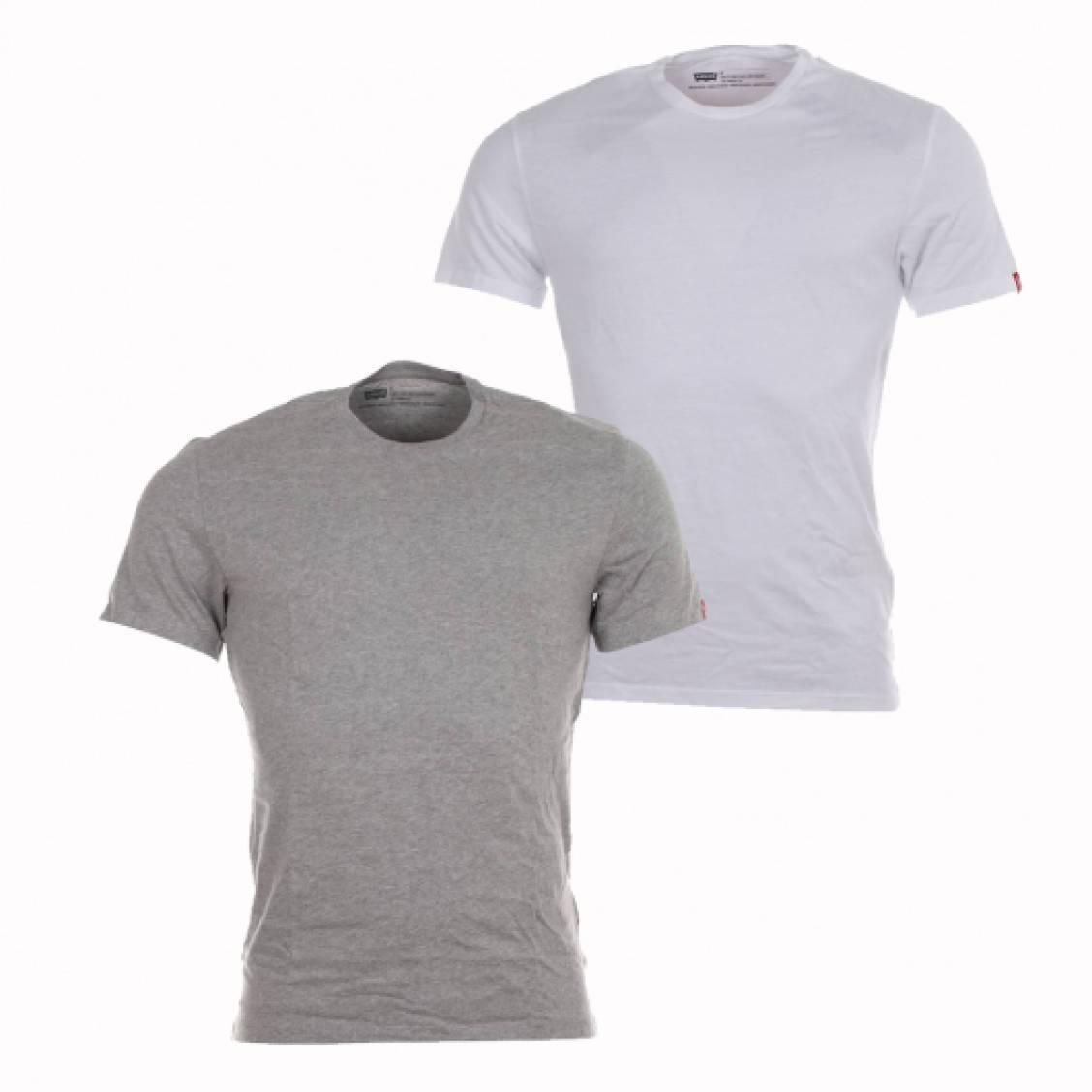 Levi's Lot Tee Shirts Fit Crewneck Gris Coton Et Blanc Slim En De 2 UWTrBTn