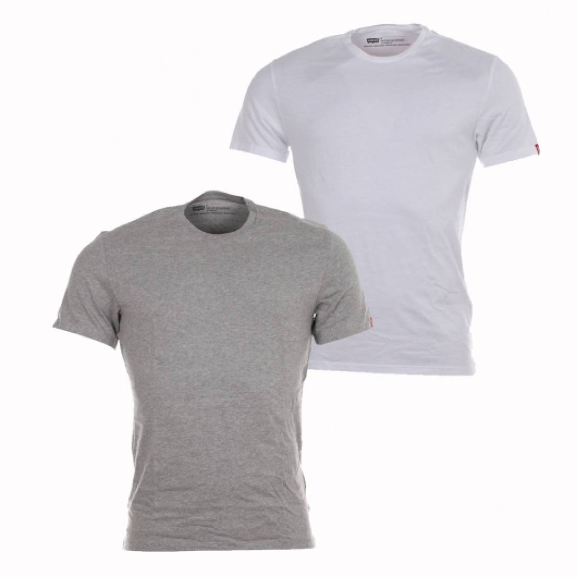 lot de 2 tee shirts levi 39 s slim fit crewneck en coton gris. Black Bedroom Furniture Sets. Home Design Ideas