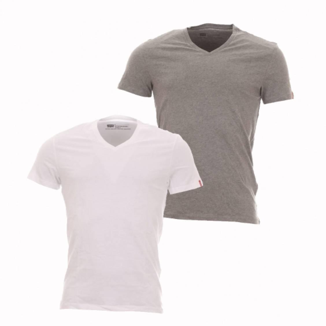 Tee Blanc Shirts Lot V Et Levi's Gris Slim Neck De Fit En Coton 2 rEqtwO7E