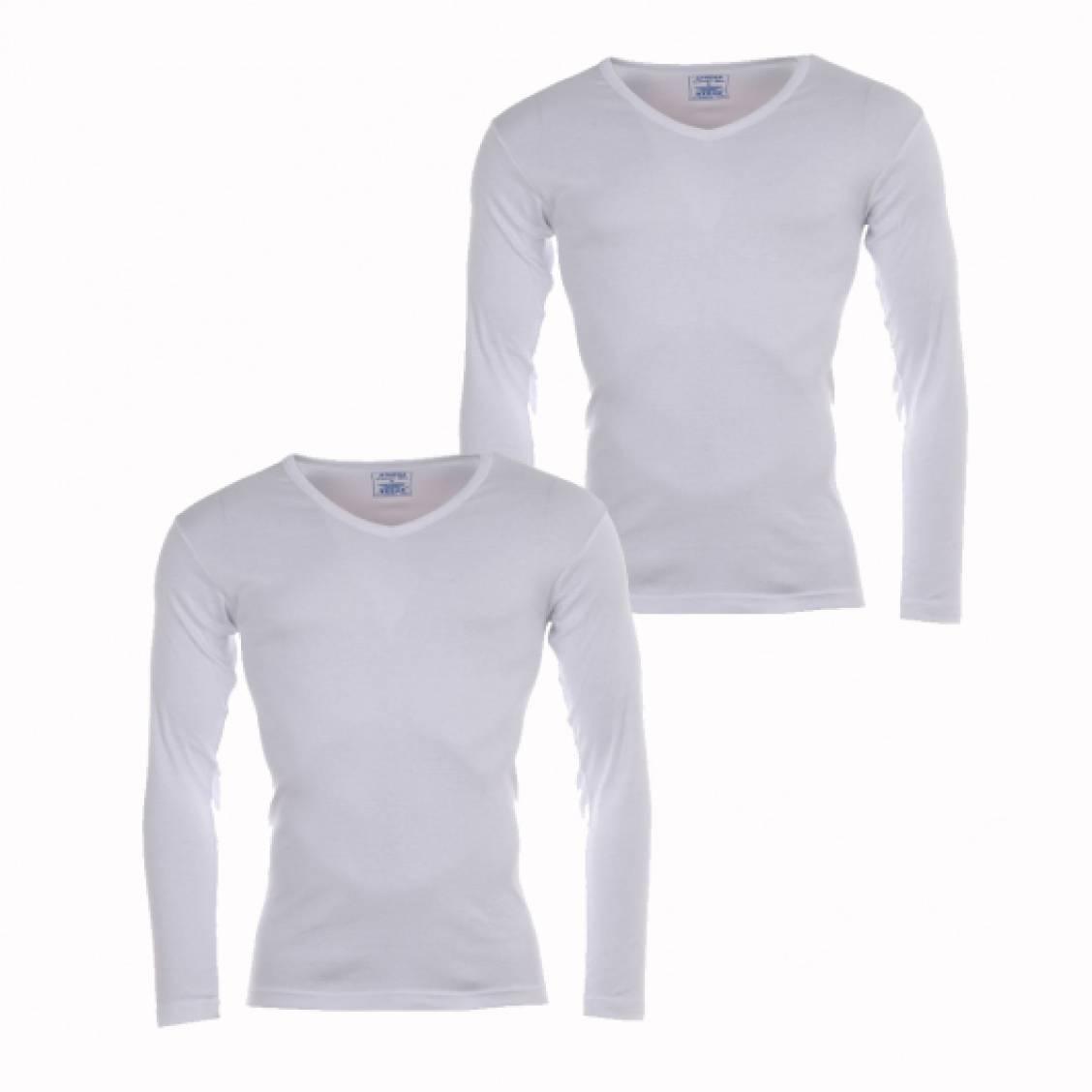 lot de 2 tee shirts manches longues col v blanc coton bio. Black Bedroom Furniture Sets. Home Design Ideas
