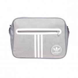 Besace Adidas à bandoulière en simili cuir suèdé gris à 3 bandes blanches