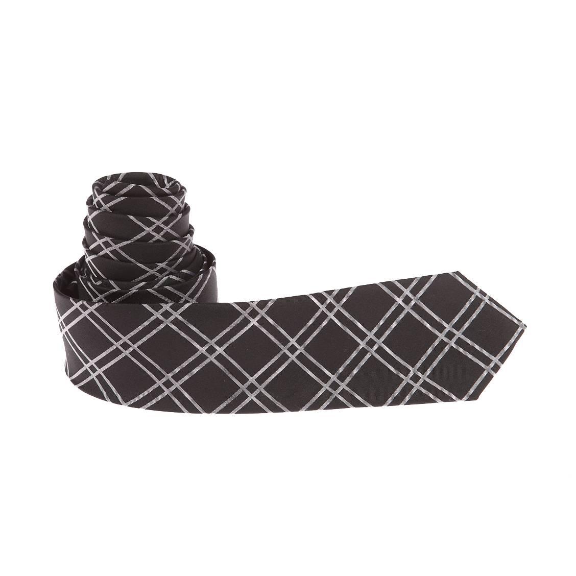 cravate-slim-antony-morato-en-soie-noire-a-carreaux-gris