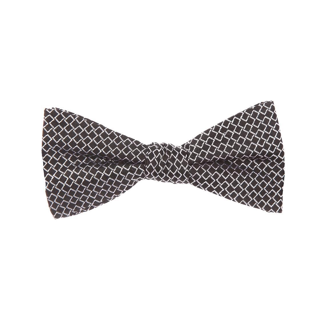 N?ud papillon Antony Morato en soie noire à petits carrés gris