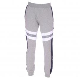 Pantalon de jogging Antony Morato en coton stretch gris chiné à bandes bleu marine et blanches