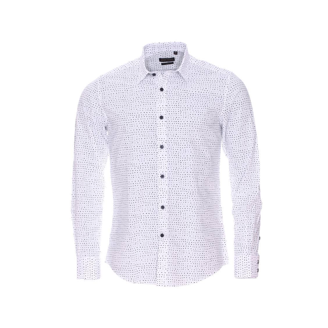 Chemise cintrée  en coton blanc à motifs pois bleu marine