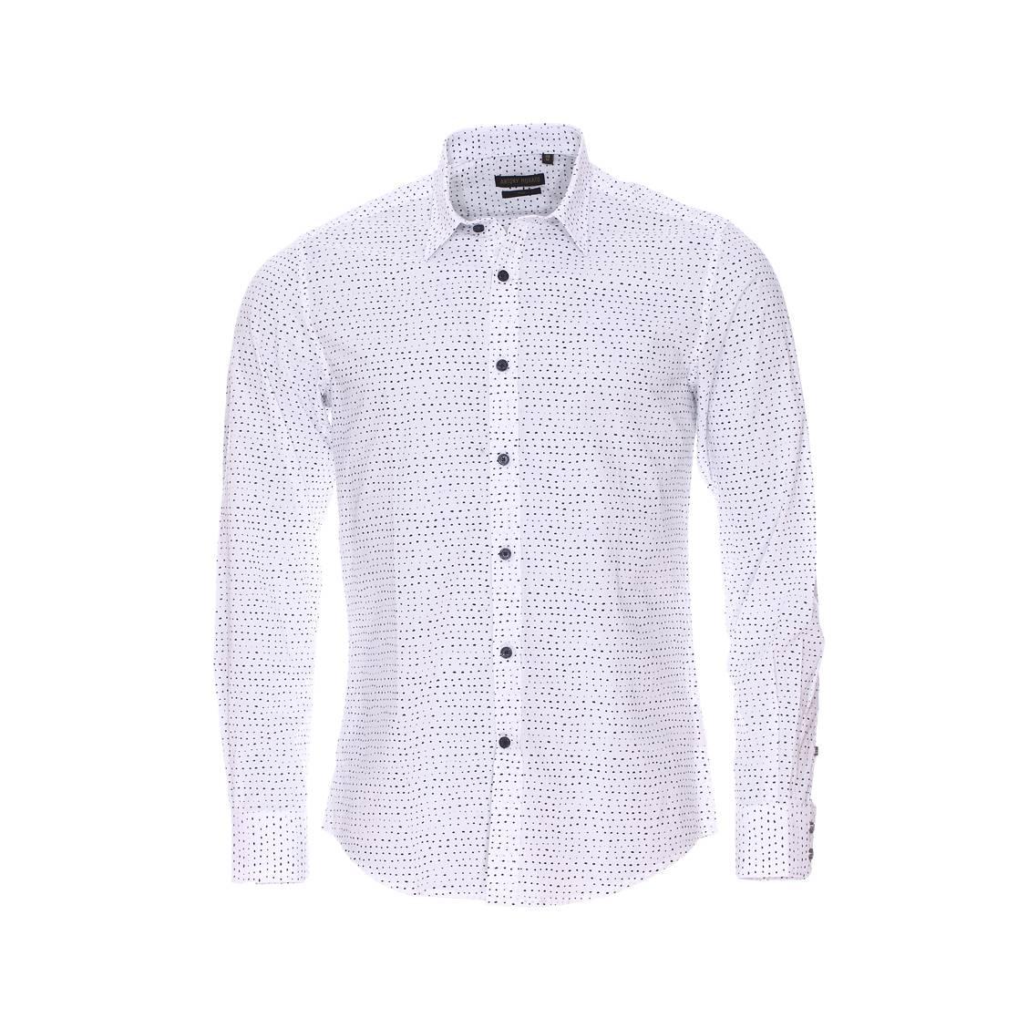 Chemise cintrée  en coton blanc à petits triangles noirs et gris