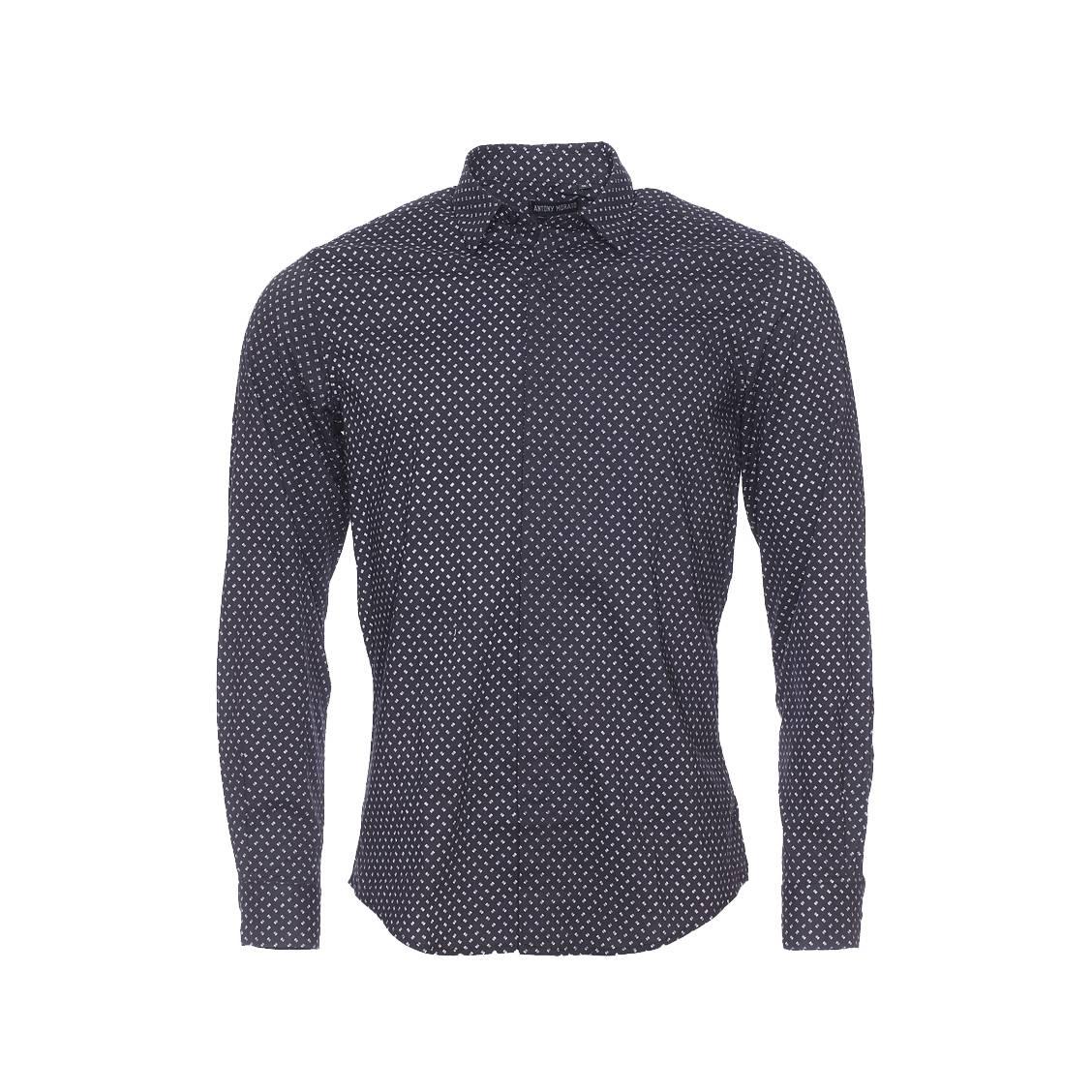 Chemise cintrée  en coton noir à petits motifs rayés blancs