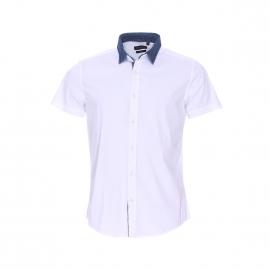 Chemise cintrée manches courtes Antony Morato blanc à double col : 1 col mao et 1 col classique en jean amovible