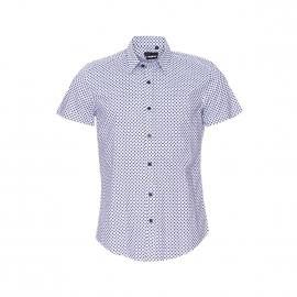 Chemise cintrée manches courtes Antony Morato blanche à motifs carrés bleus et bleu marine