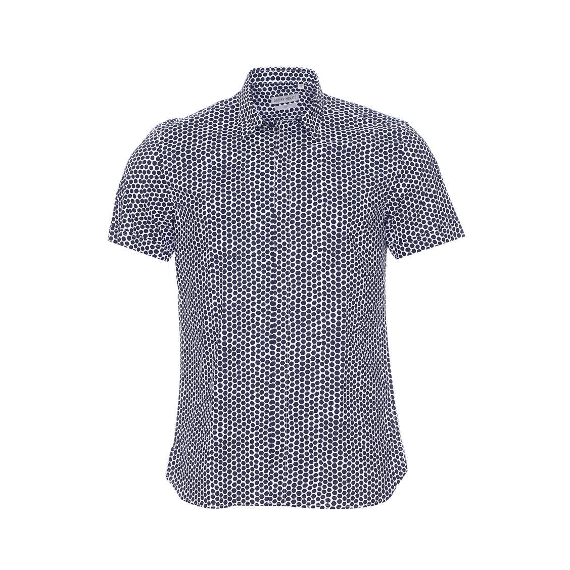 Chemise manches courtes  blanche à motifs hexagonaux bleu marine, coupe american fit