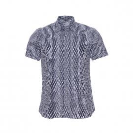 Chemise manches courtes Antony Morato blanche à motifs hexagonaux bleu marine, coupe American fit
