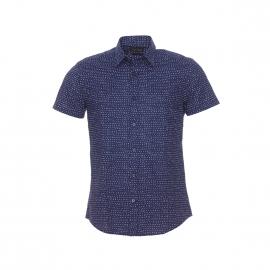 Chemise cintrée manches courtes Antony Morato bleu marine à points blancs