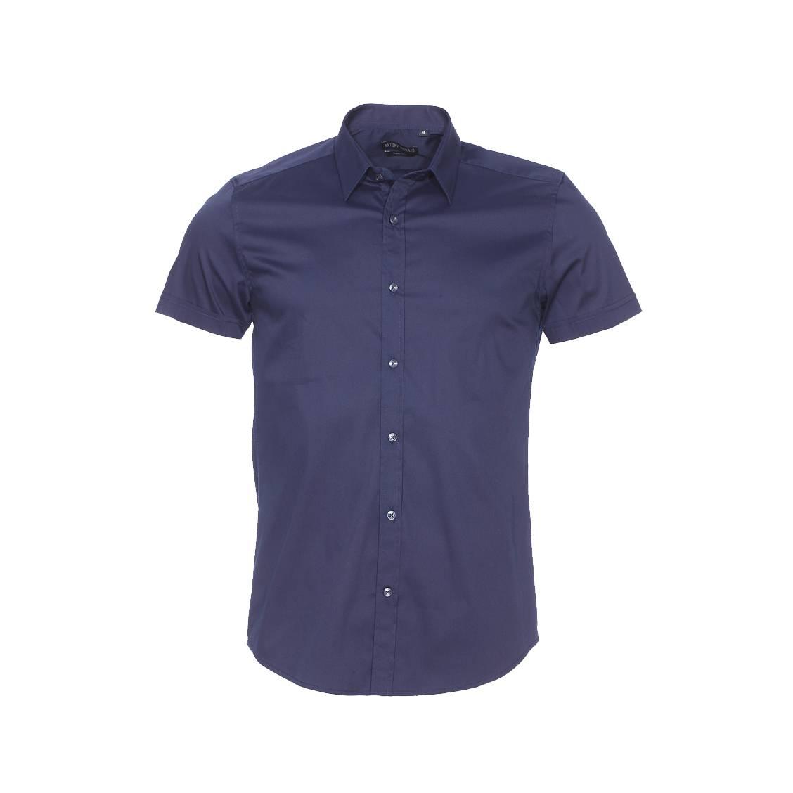 Chemise super slim manches courtes  en coton stretch bleu marine