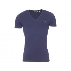 Tee-shirt col V Antony Morato Silver en coton stretch bleu marine