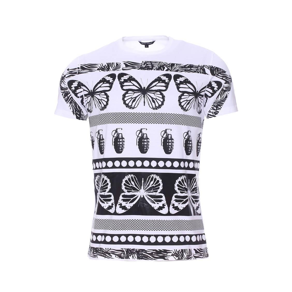 061c02379b2 Tee-shirt col rond Antony Morato blanc à motifs