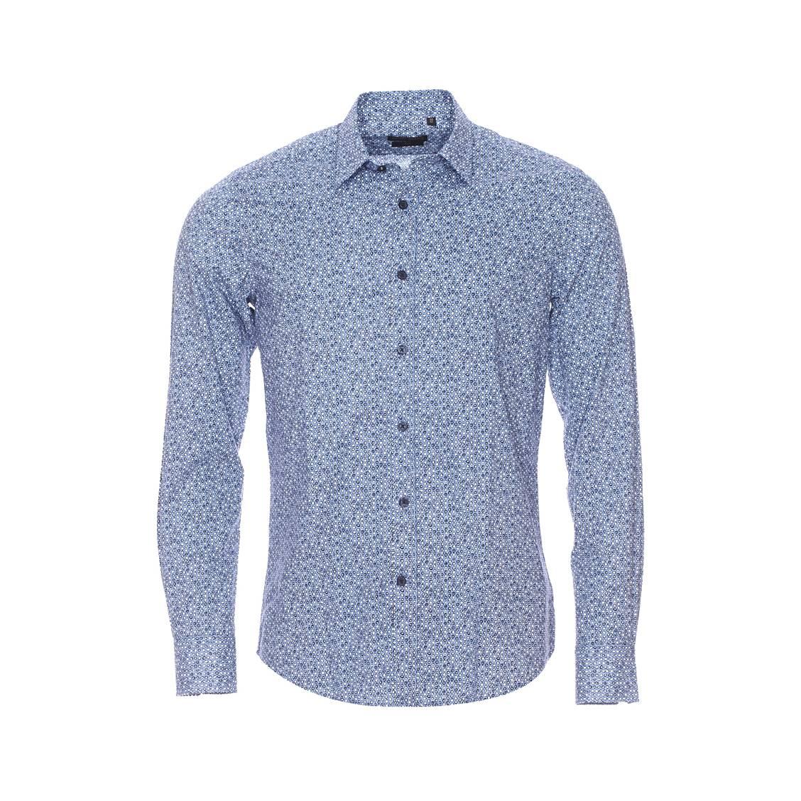 Chemise cintrée  en coton bleu clair à motifs ronds bleu marine et blancs