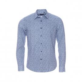Chemise cintrée Antony Morato en coton bleu clair à motifs ronds bleu marine et blancs