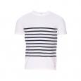 Tee-shirt Heritage Armor Lux en coton et modal stretch blanc à fines rayures bleu marine