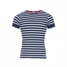 Tee-shirt Heritage Armor Lux en coton et modal à rayures bleu marine chiné et blanches