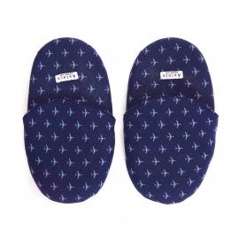 Pantoufles Arthur en coton bleu marine à motifs avions