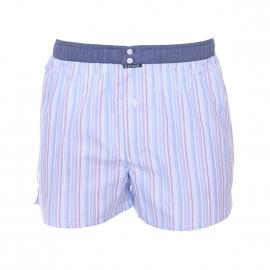 Caleçon Arthur Club en coton bleu ciel à rayures blanches, orange, rouges, ocre et violettes à ceinture bleu jean