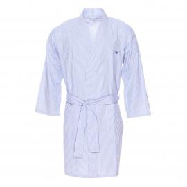 Kimono Arthur en coton à rayures bleu ciel et blanches